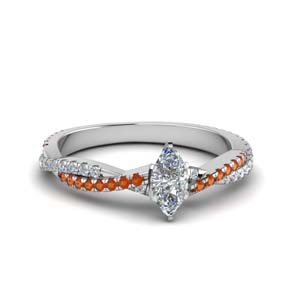 marquise cut twisted vine diamond engagement ring for women with orange sapphire in 18K white gold FD8233MQRGSAOR NL WG