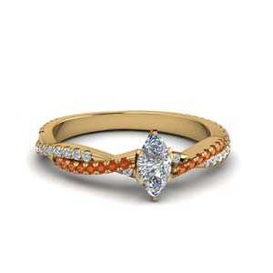 marquise cut twisted vine diamond engagement ring for women with orange sapphire in 18K yellow gold FD8233MQRGSAOR NL YG