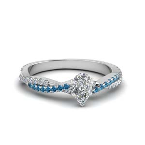 pear shaped twisted vine diamond engagement ring for women with ice blue topaz in 18K white gold FD8233PERGICBLTO NL WG
