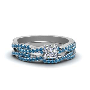 Blue Topaz Platinum Bridal Set