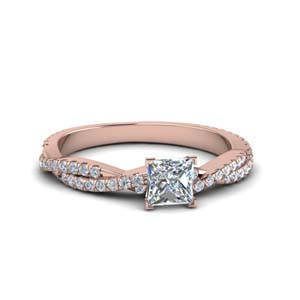 princess cut twisted vine diamond engagement ring for women in 18K rose gold FD8233PRR NL RG