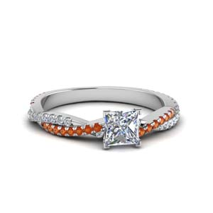 princess cut twisted vine diamond engagement ring for women with orange sapphire in 18K white gold FD8233PRRGSAOR NL WG