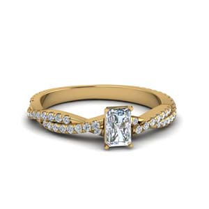 radiant cut twisted vine diamond engagement ring for women in 18K yellow gold FD8233RAR NL YG