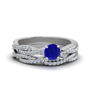 Twisted Sapphire Wedding Ring Set
