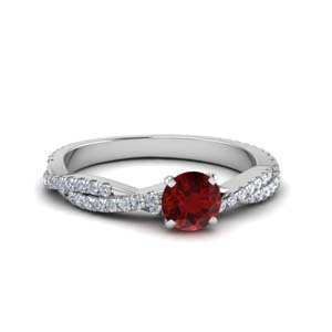 Ruby With Twisted Engagement Ring