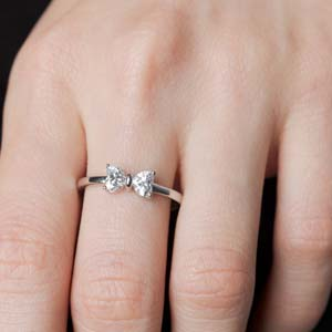 1 Ct. Diamond Heart Bow Promise Ring