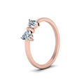 2 heart shaped bow diamond ring in 14K rose gold FD8238ANGLE2 NL RG