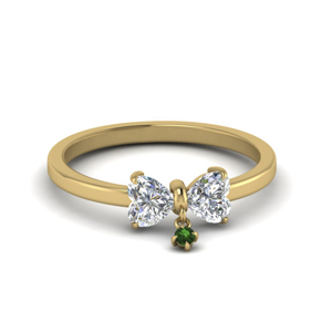 Thin Emerald Promise Ring