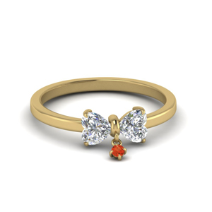 3 Stone Ring With Orange Topaz