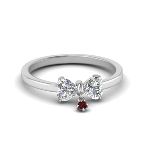2 Heart Promise Ring With Ruby