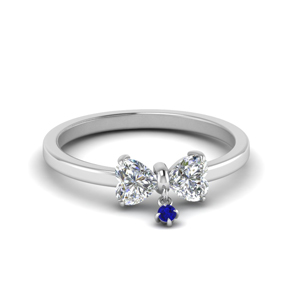 Bow Diamond Ring With Sapphire