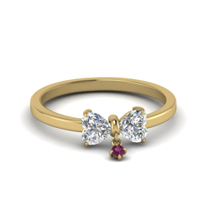 Yellow Gold 2 Heart Promise Ring