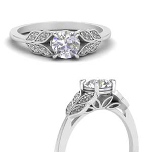 pave leafy design cubic zirconia engagement ring in FD8240RORANGLE3 NL WG