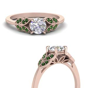Emerald Leaf Style Wedding Ring