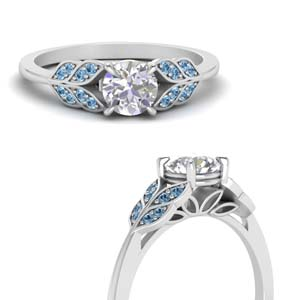 Blue Topaz Leaves Diamond Ring