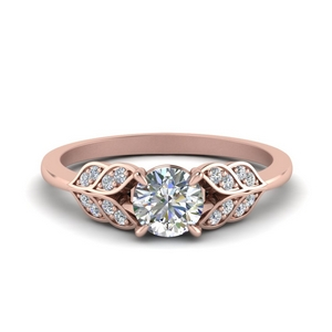Leaf Round Diamond Ring