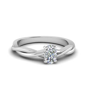 Single Diamond Twisted Ring