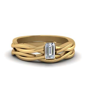 Emerald Cut Infinity Bridal Set