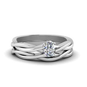 Solitaire Vine Wedding Ring Set