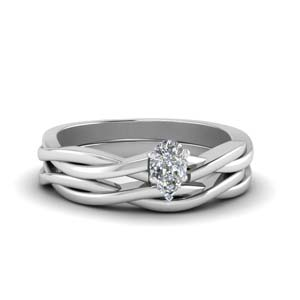 pear shaped delicate twisted vine wedding ring set in 14K white gold FD8252PE NL WG