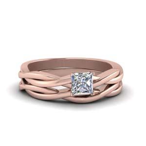 princes cut simple vine solitaire bridal ring set in 14K rose gold FD8252PR NL RG