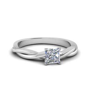 princess cut braided single diamond engagement ring in 950 Platinum FD8252PRR NL WG