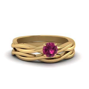 Pink Sapphire Solitaire Ring Set