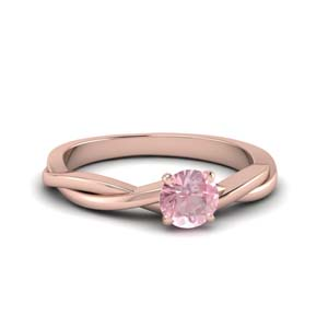 Twisted Morganite Solitaire Ring