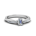 emerald cut Infinity twist diamond engagement ring in 14K white gold FD8253EMR NL WG