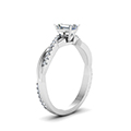 emerald cut Infinity twist diamond engagement ring in 14K white gold FD8253EMRANGLE2 NL WG