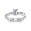 emerald cut Infinity twist diamond engagement ring in 14K white gold FD8253EMRANGLE5 NL WG