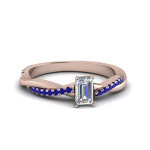 emerald cut infinity twist diamond engagement ring with sapphire in FD8253EMRGSABL NL RG