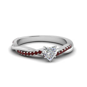 heart shaped infinity twist diamond engagement ring with ruby in FD8253HTRGRUDR NL WG