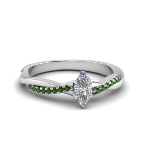 Marquise Shaped Emerald Ring