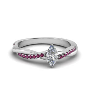 marquise cut infinity twist diamond engagement ring with pink sapphire in FD8253MQRGSADRPI NL WG