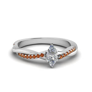 marquise cut infinity twist diamond engagement ring with orange sapphire in FD8253MQRGSAOR NL WG