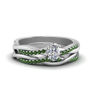 oval shaped Infinity twist diamond matching bridal set with emerald in FD8253OVGEMGR NL WG