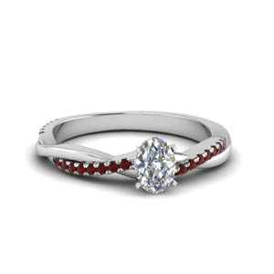 oval shaped infinity twist diamond engagement ring with ruby in FD8253OVRGRUDR NL WG