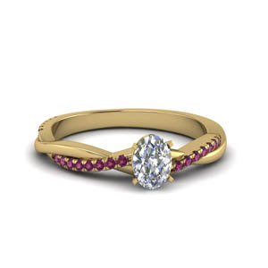 Twisted Ring With Pink Sapphire