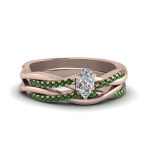 Infinity Twist Pear Diamond Ring Set