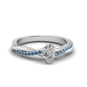 pear shaped infinity twist diamond engagement ring with blue topaz in FD8253PERGICBLTO NL WG