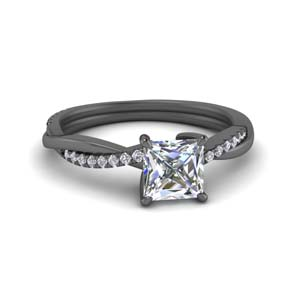 Princess Cut Vine Diamond Ring