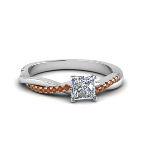 princess cut infinity twist diamond engagement ring with orange sapphire in FD8253PRRGSAOR NL WG