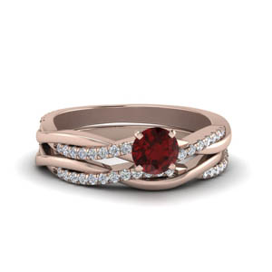 Intertwined Ruby Wedding Set