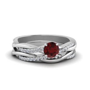 petite twisted ruby wedding set in FD8253ROGRD NL WG