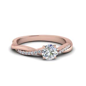 round cut infinity twist diamond engagement ring in FD8253ROR NL RG