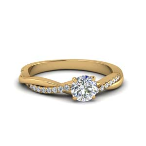 round cut infinity twist diamond engagement ring in FD8253ROR NL YG