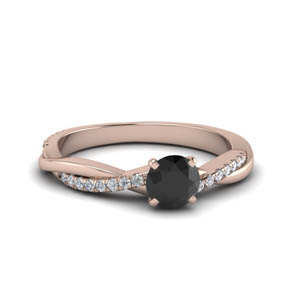 petite twisted black diamond engagement ring in FD8253RORGBK NL RG