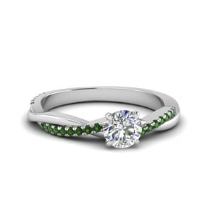 round cut infinity twist diamond engagement ring with emerald in FD8253RORGEMGR NL WG