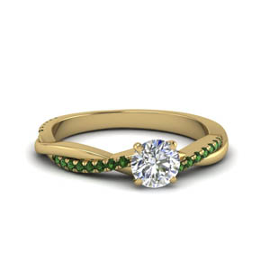 round cut infinity twist diamond engagement ring with emerald in FD8253RORGEMGR NL YG